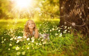girls-cat-tree-sunshine-light-grassland-flower